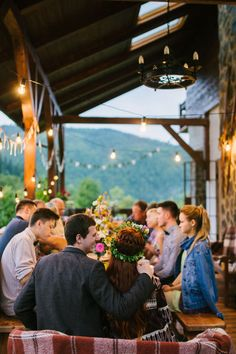 "Olenka and Mykola' 10 Guest,  $4,000 Reception at Chalet ""Kukavica"" overlooking the Carpathian Mountains. See their gorgeous photos and vimeo by Nickolay Debelinsky here @intimateweddings.com #reception #smallwedding"