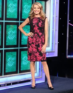ADRIANNA PAPELL Cocktail dress in black w/hot pink abstract floral print, bodice w/black lace overlays, scoop neckline, sleeveless, straight skirt  | Vanna White's dresses | Wheel of Fortune