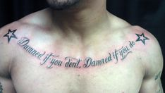 Chest Lettering Tattoos Tattoo Designs For Men Simple Dragon Tattoo Latin Tattoo, Chest Tattoo Latin, Chest Tattoo Egyptian, Chest Tattoo Writing, Chest Tattoo Lettering, Chest Tattoo Quotes, Eagle Chest Tattoo, Chest Piece Tattoos, Cool Chest Tattoos