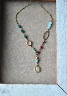 Colorful glass beaded necklacelayered charm by tiedupmemories