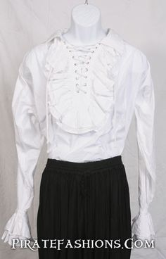 A fine shirt fer going out on the town, when ye be wantin' the fancy look to attract all the ladies in town. • Double row of ruffles at neck with set of 8 brass grommets to adjust the opening of the c
