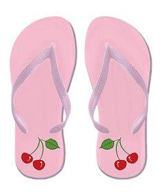 "Pink Cherry Duo Flip-Flops by CafePress #zulily #zulilyfinds. $13.99, OTHER CUTE ""Fruit"" COLOR FLIP-FLOPS"