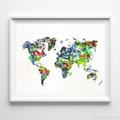 Inkist Prints offers unique art prints and posters at great prices! Check our vivid yet mellow World Map watercolor map print, suitable for your home! World Map Wall Decor, World Map Poster, World Map Wall Art, Map Posters, Dorm Art, Water Color World Map, Watercolor Artwork, Watercolour, Wall Art Prints
