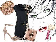"""Este outfit está compuesto por un vestido de """" Anna Field en Zalando"""" con motivos florales en un lateral, zapatos de """"Zara"""" con tachuelas en la punta y así rompemos con el look romántico, cluch de """"H"""", la pulsera de """"Parfois""""."""