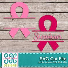 Pink Split Cancer Awareness Ribbon with Survivor Option SVG