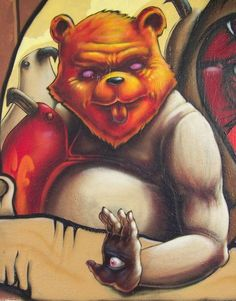 Bad bear street art by Pixeljuice #Pixeljuice #bears #streetart #art