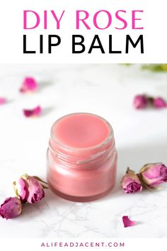 Learn how to make simple DIY rose lip balm for irresistibly soft lips! This moisturizing rose lip salve is made with beeswax, shea butter and coconut oil. It can be fragranced with essential oils, rose wax or rose petal infused oil for an organic lip balm that's a great remedy for chapped lips. This easy homemade lip balm recipe also includes a vegan option without beeswax. Options for flavors include vanilla rose, coconut rose, chocolate rose & more! #lipbalm #diylipbalm | ALifeAdjacent.com Homemade Lip Balm, Diy Lip Balm, Diy Cosmetic, Natural Lip Balm, Natural Skin, Natural Beauty, Lip Balm Labels, Beeswax Lip Balm, Lip Balm Recipes