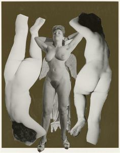 Marcel Bovis(1904-1997) . Deux nus féminins tête bêche, un nu féminin de face. Photomontage