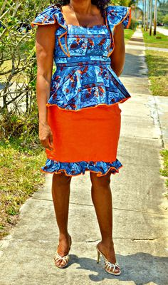 Ankara wax Print Orange and Blue Skirt  Suit by ZabbaDesigns, $80.00