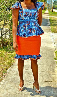 Ankara wax Print Orange and Blue Skirt  Suit by ZabbaDesigns, $80.00