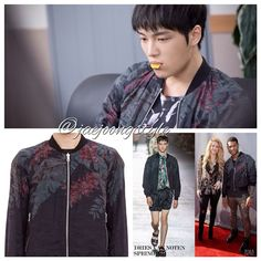 """JJ wearing @DriesVanNoten """"floral botanical print reversible bomber jacket"""" for #KoreanDrama  Triangle (2014). Also worn by a model for a fashion show and Usher for The Voice.  Price: $2,505. Credit: MBC and upscalehype.  #KimJaejoong #Jaejoong #김재중 #KoreanIdol #Korean #actor #singer #star #celebrity"""