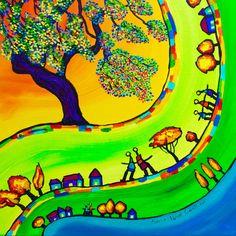 Peinture paysage arbre lumière d'Anne Poiré et de Patrick Guallino.