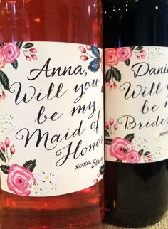 "Custom Made Wine Labels - This floral ""Will you be my bridesmaid/maid of honor"" label is the perfect way to ask your wedding party to share in your special day! Best fits on bottles. by faith Asking Bridesmaids, Wedding Gifts For Bridesmaids, Bridesmaids And Groomsmen, Will You Be My Bridesmaid, Bridesmaid Proposal, Wedding Dresses, Wedding Wishes, Our Wedding, Dream Wedding"