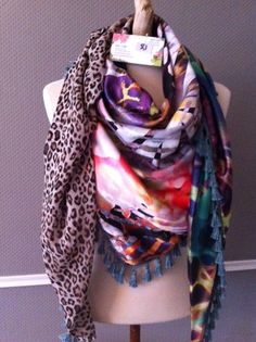 Handmade Made by Keet scarves from satin- silk made out of several fabrics and patterns. 225 x 125 cm