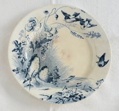 Antique French BIRDS  POPPIES Plate Vieillard Bordeaux Ironstone