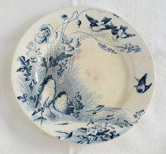 Antique French Birds Plate Vieillard Bordeaux Ironstone