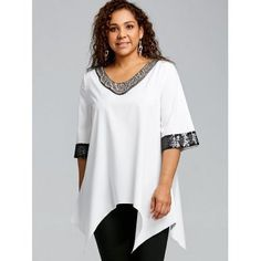 2271d8fff11 Plus Size Two Tone Sequined Panel Top - OFF WHITE 5XL Plus Size Outfitek