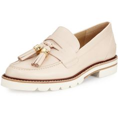 Stuart Weitzman Manila Leather Tassel Loafer (3,325 GTQ) ❤ liked on Polyvore featuring shoes, loafers, off white, champagne flats, tassel loafers, tassel flats, flat shoes and loafer flats