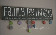 Family Birthday Board Distressed Grey and by MakeitStickDesigns