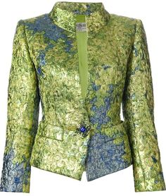 Yves Saint Laurent Green fitted brocade jacket circa 1980 featuring a stand up collar, two front pockets, long sleeves, button cuffs and an embellished button front fastening. Mens Suit Colors, Yves Saint Laurent, Long African Dresses, Shweshwe Dresses, Evening Attire, Green Jacket, African Fashion, Casual, How To Wear