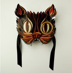 Halloween Pop Up 3D Masquerade Mask - Black Kat, Freaky Alley Cat costume!