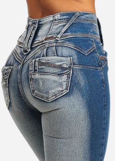 Butt Lifting High Rise Trendy Bronze Button Skinny Jeans