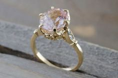 14k Rose Gold 10x8mm Oval Morganite With Round Cut by ASweetPear