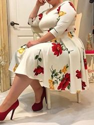 Plus Size Dress Women Floral Printed Half Sleeve V Neck Sexy White Midi Dress Robe A-Line Femme Office Lady Vestidos Women's A Line Dresses, Plus Size Dresses, Plus Size Outfits, Floral Dresses, Cheap Dresses, Plus Size Skater Dress, Work Dresses, Dresses Dresses, Party Dresses