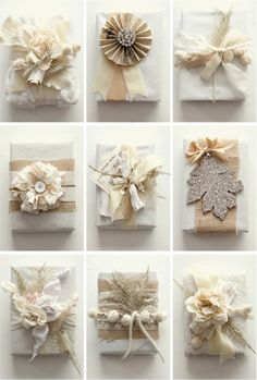 pretty christmas wrapping - love the burlap and other natural elements