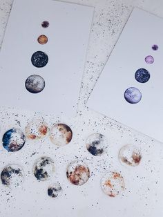 Aufkleber-Set mit 20 Mondphasen und zwei Mond-Postkarten mit Aquarellfarben / watercolor sticker set with 20  lunar phases and two postcards by faitmaison via DaWanda.com