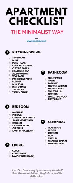 Minimalist Apartment Checklist by Nialogique