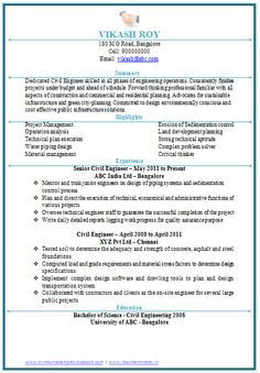 Professional Curriculum Vitae / Resume Template for All Job Seekers  Sample Template of a Excellent One page Civil Engineer Professional Resume with Work Experience, Professional Curriculum Vitae with Free Download in word Doc. (1 Page Resume) (Click Read More for Viewing and Downloading the   ~~~~ Download as many CV's for MBA, CA, CS, Engineer, Fresher, Experienced etc / Do Like us on Facebook for all Future Updates ~~~~
