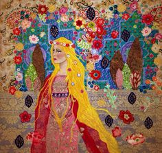 Appliqué fabric picture Repunzel by lucy levenson