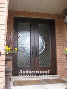 This gorgeous Amberwood double entry door we called  Sunburst  It was very  popular between 2004 and The glass is actually melted glass This stunning  Amberwood custom mahogany double entry  door  . Double Entry Doors With Glass. Home Design Ideas