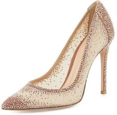 Rania crystal illusion pump by Gianvito Rossi. Gianvito Rossi suede pump with crystal-embellished, sheer mesh illusion sides. Nude High Heels, Nude Shoes, High Heel Pumps, Pumps Heels, Women's Shoes, Gold Pumps, Nude Pumps, Slip On Pumps, Slip On Shoes
