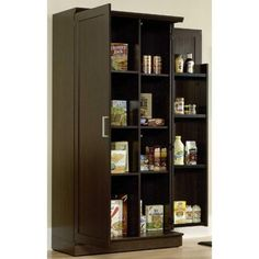 Home Visions Laminate Storage Cabinet With Swing-out Storage Door In Espresso