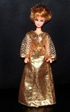 Retro Mod Dawn Doll Dress Pink with Gold trim  by CelwinsCloset, $9.45