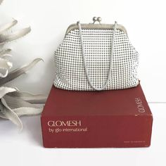 Glomesh white mesh handbag in original box, large tiles with cross hatched frame and giant kiss lock, made in Australia, circa by CardCurios on Etsy Hatch Pattern, Metal Mesh, Fashion Backpack, 1960s, Tiles, Australia, Handbags, Purses, Chain