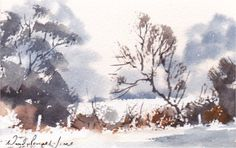 Hand Painted Card - winter scene by WendyPowellJonesArt on Etsy