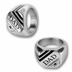 Zales Mens Diamond Accent DAD Ring In Stainless Steel And Black Enamel Dad Rings