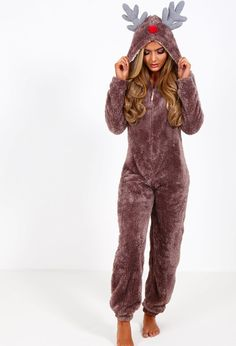 Reindeer Brown Fleece Onesie