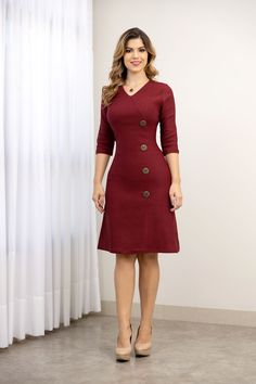 Frocks, Ideias Fashion, Fashion Dresses, High Neck Dress, Outfit, Makeup, Style, Cotton Dresses, Stylish Dresses