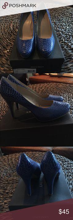 Heels Royal blue, snake skin, size10,  4 in heel, 1 in platform, brand new Ellen Tracy Shoes Heels