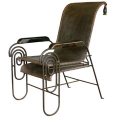 French Art Deco Iron Lounge Chair with Extension Circa 1925