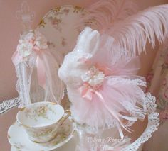 Pink Princess Bridal Lace Shabbydazzle Bunny Glittering Rose Tea Time Shabby Chic Easter Marie Antoinette Sparkling Shabby Chic Love   via Etsy.