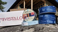 Some of the sealing products used. The entire wall structure is breathable but still it's important to have controlled flow of air and moisture. Contega Solido Exo is used to seal doors and windows externally. Tescon Vana is used to seal any gaps with the walls before cladding is added. Internally Tescon Nr1 is used with Intello vapour check and airtightness membrane.