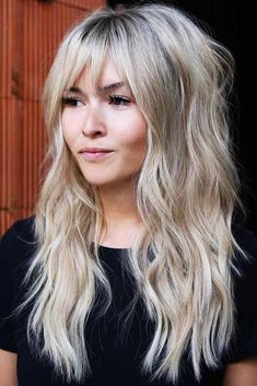 24 Different Shag Haircut Ideas To Beautify Any Texture Long wavy blonde pimple with pony hair hair Blonde Hair With Bangs, Long Hair With Bangs And Layers, Long Haircuts With Bangs, Long Shag Hairstyles, Hair Cuts For Long Hair With Bangs, Casual Hairstyles, Modern Hairstyles, Hairstyles Haircuts, Shoulder Length With Layers
