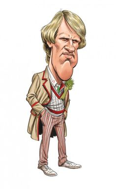 A close-up from the limited edition print of 5, Peter Davison by Tom Richmond of Mad magazine.