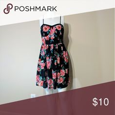 Black with Red Flower print Xhilaration (Target) size 12 Spring dress. Clean, no rips or stains. Gently used. Dresses Midi