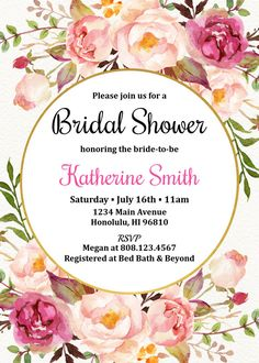 Bohemian Bridal Shower Invitation. Boho Bridal Shower